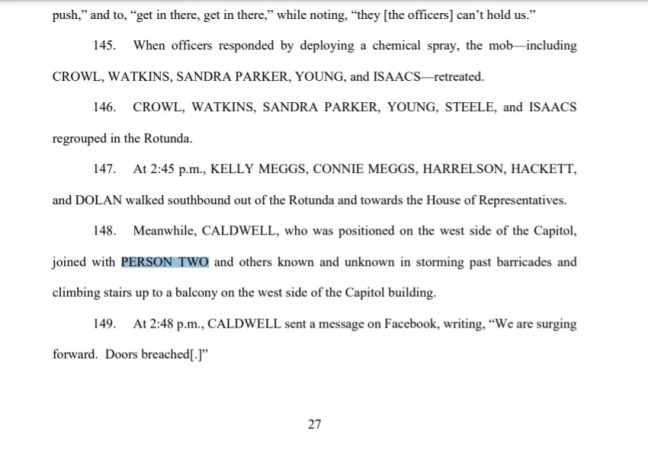 DoJ Court filing mentioning Person Two.