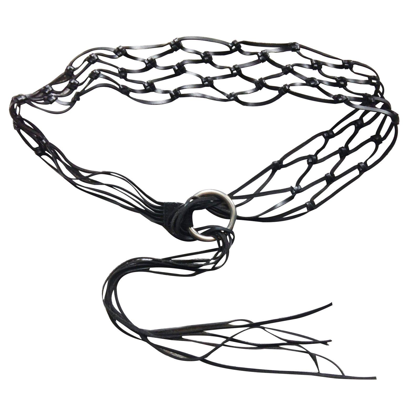 Mango Belt Belts Leather Black Ref