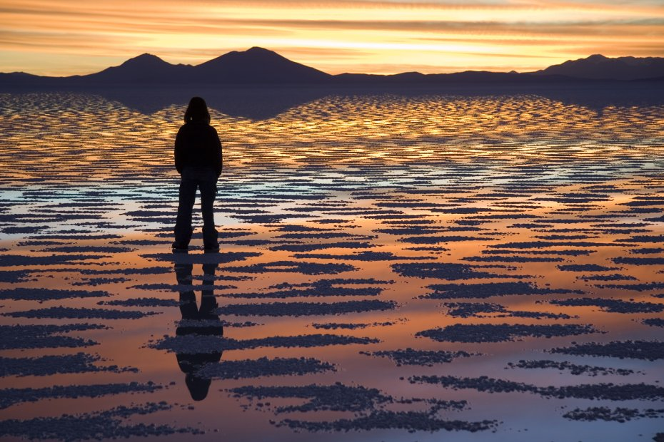 Sunset reflection on the Salar de Uyuni, Bolivia