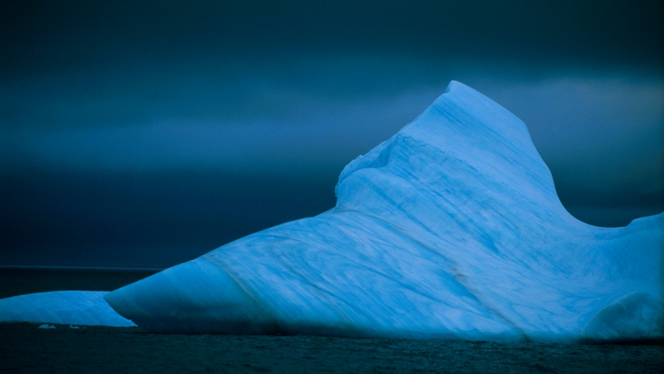 Antarctic iceberg, deep blue
