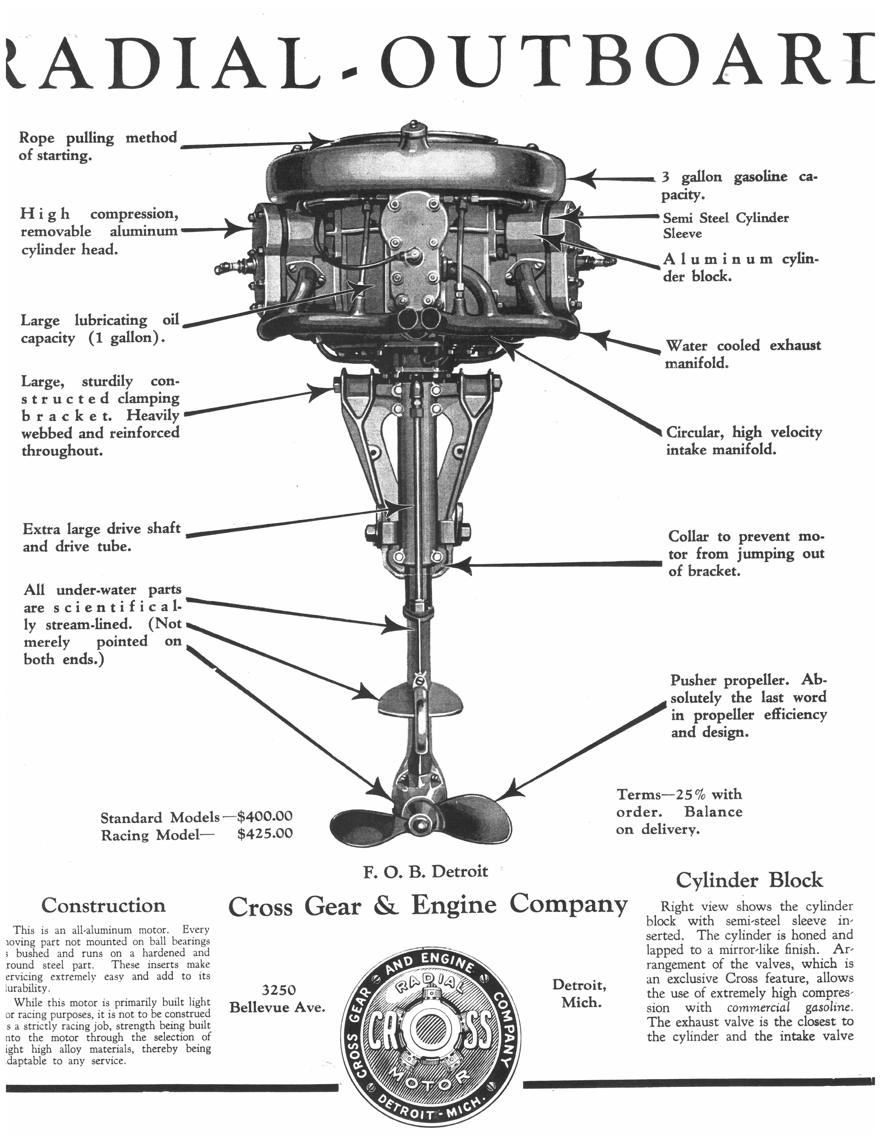 Cross Model 563 Radial 5 Cylinder Outboard Boat Motor
