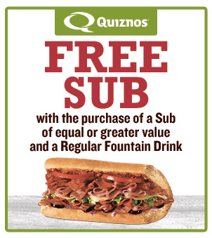 Print a Quiznos coupon to get buy one, get one free subs with any drink purchase!