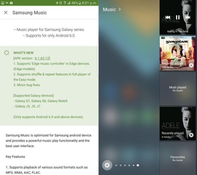 App Samsung Music para el Samsung Galaxy S7 Edge