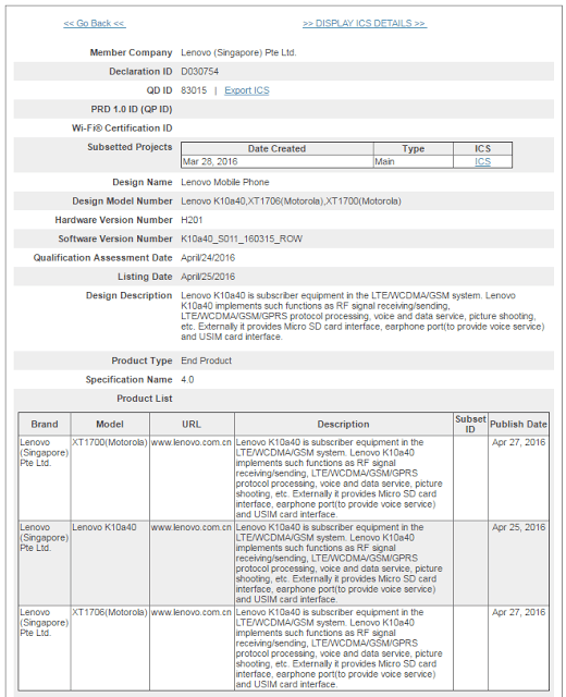 Motorola Moto E de 2016 certificacion bluetooth
