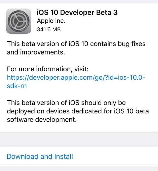 Tercera versión de pruebas de iOS 10