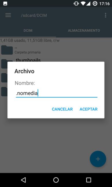 Crear archivo oculto Nomedia