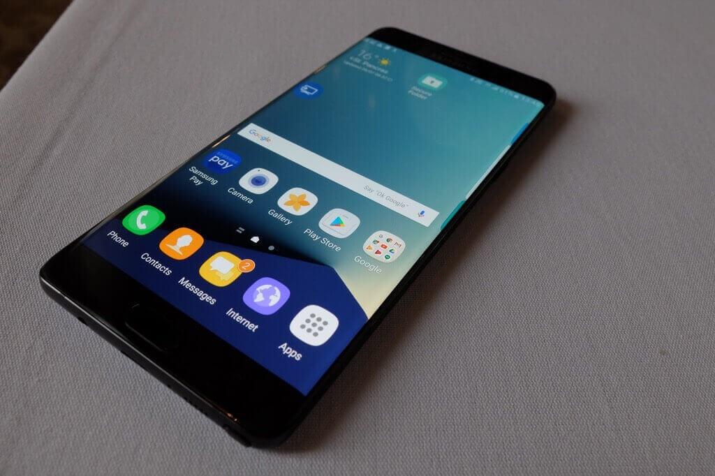 Samsung Galaxy Note 7 negro pantalla