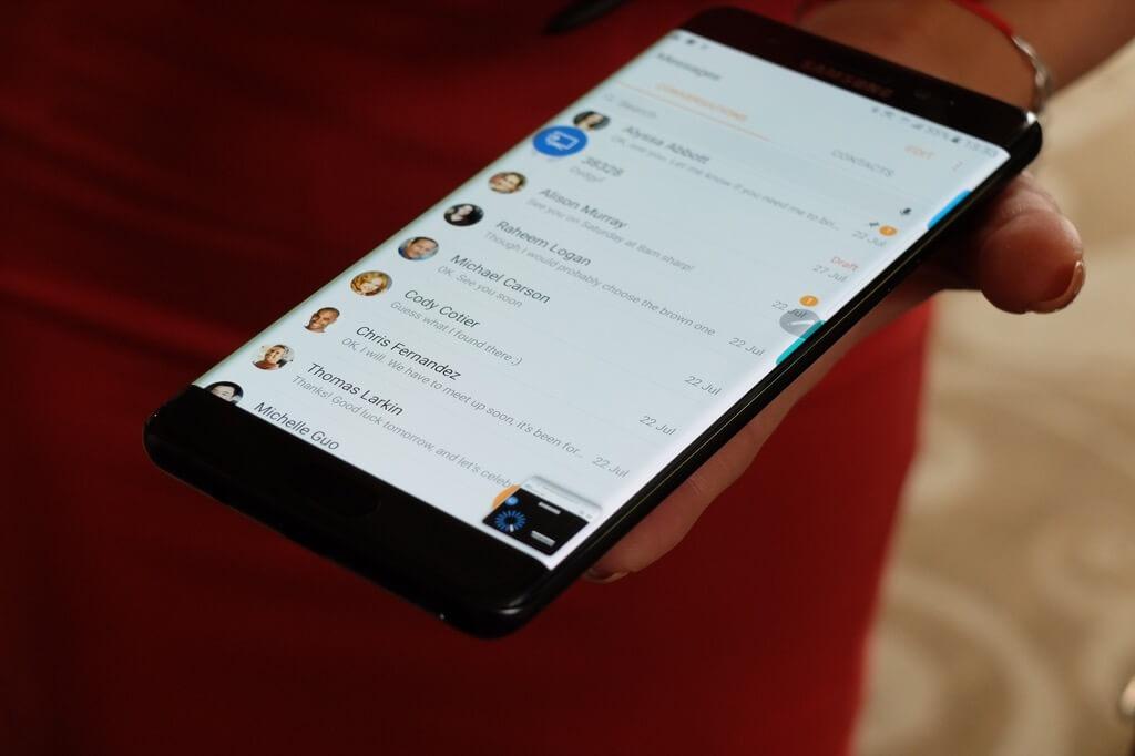 Samsung Galaxy Note 7 interfaz