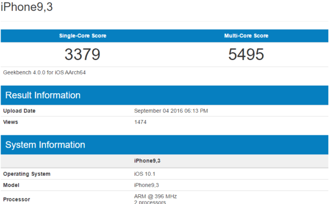Resultado del iPhone 7 Plus en Geekbench