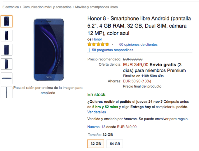 Oferta Honor ocho en ©Amazon Black Friday