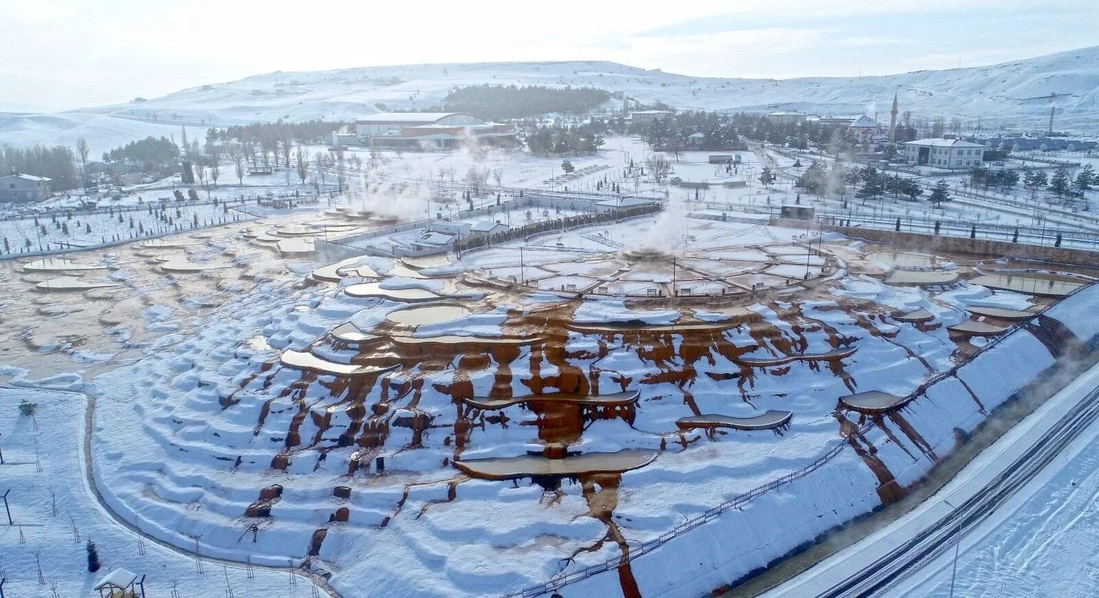 'Sivas'ın Pamukkale'si' Altınkale'de kar güzelliği - 9