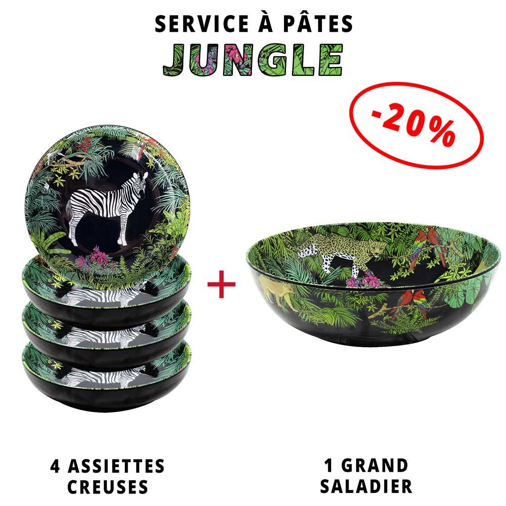 service a pates melamine 1 saladier 4 assiettes creuses 20 theme jungle