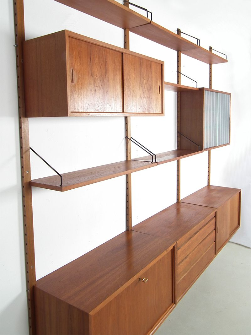 Mid Century Danish Royal System Teak Wall Unit By Poul