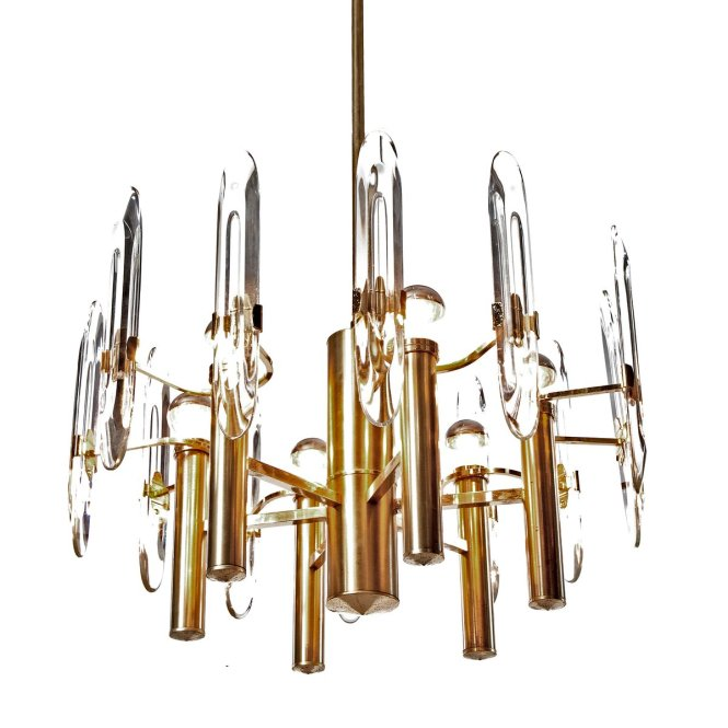 6 Light Gold Plated Brass And Crystal Glass Chandelier By Gaetano Sciolari 1960s For At Pamono