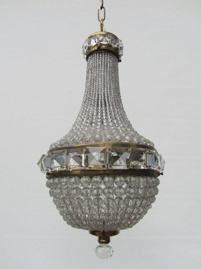 Vintage French Crystal Beaded Basket Chandelier