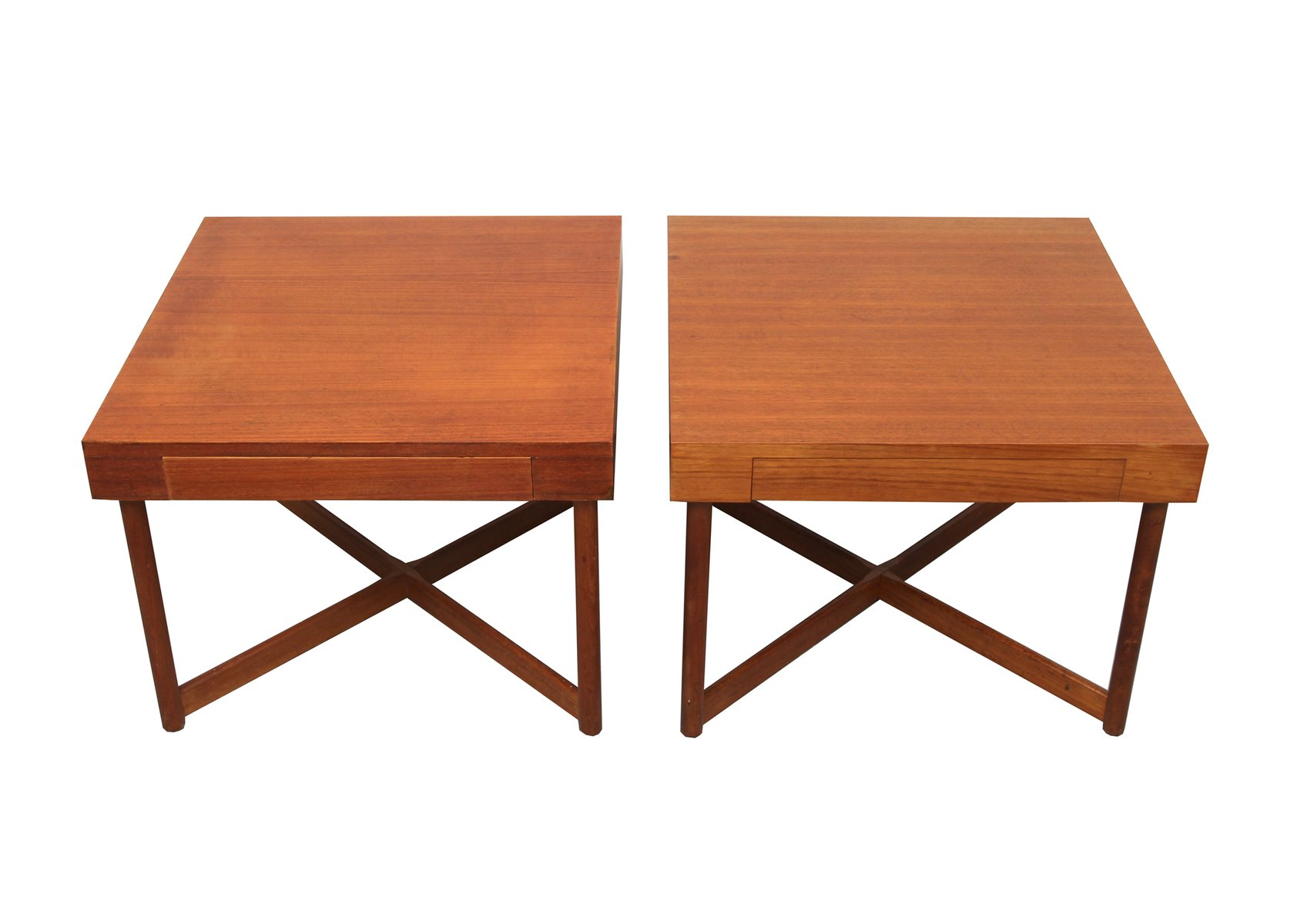 Danish Teak Square Coffee Tables, 1960s, Set Of 2 For Sale