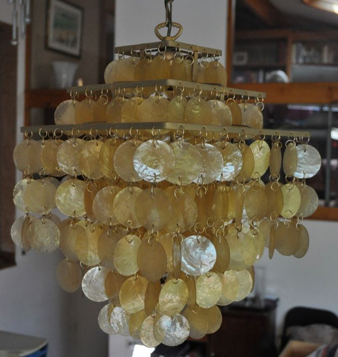 Mid Century Mother Of Pearl Chandelier By Arturo Pani For Verner Panton 1960s