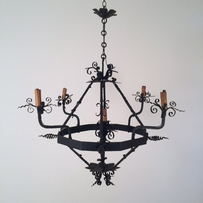 Vintage Wrought Iron Chandelier 1960s