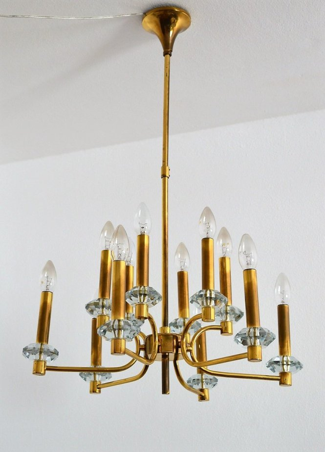 Vintage Brass And Glass Chandelier With 12 Lights 1960s For At Pamono