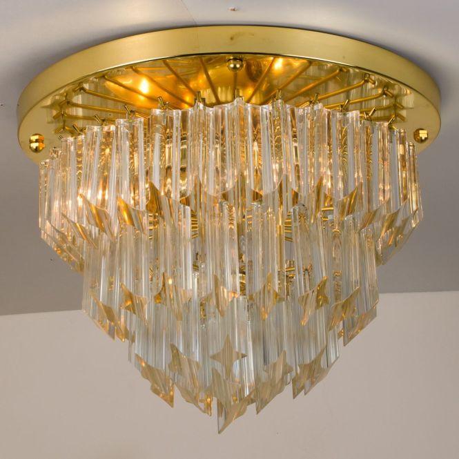 Italian Four Tiered Astra Quadrilobo Murano Glass Chandelier From Venini 1960s