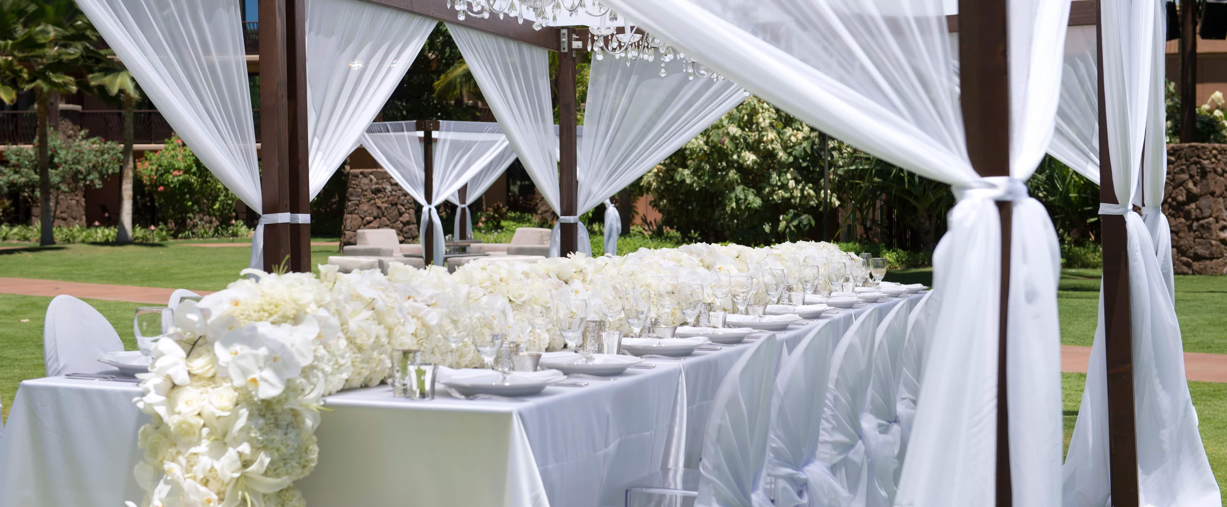 a wedding party banquet table decorated with a garland of white roses and orchids under a