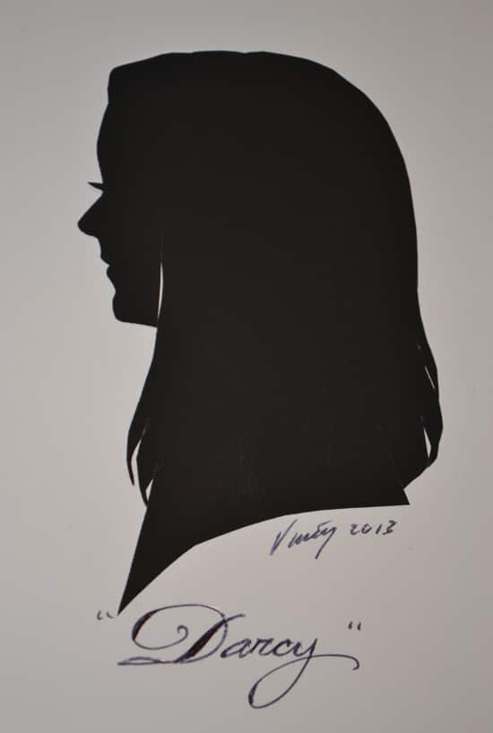 Artist Vincent's Portrait of Author Darcy Clark at Silhouette Portraits at the Downtown Disney Marketplace at Walt Disney World Resort