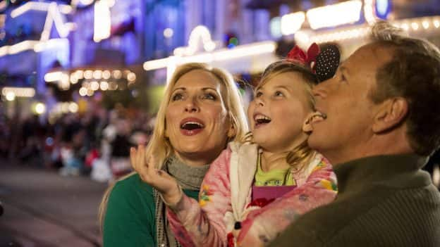 Family enjoying Main Street U.S.A. during the holiday season