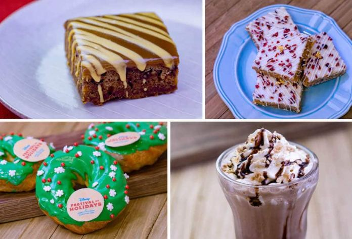Warm Sticky Toffee Pudding, White Chocolate Cranberry Brownie, Eggnog Wreath Éclair, and S'mores Frozen Chocolate Milk from Visions of Sugarplums Marketplace at Disney Festival of Holidays at Disney California Adventure Park