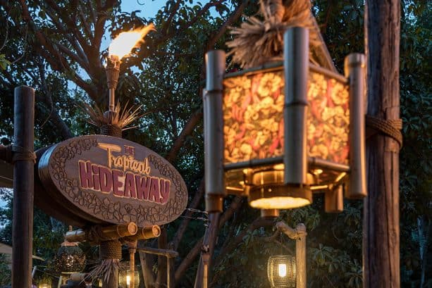 Tiki torches outside The Tropical Hideaway, Disnelyand park