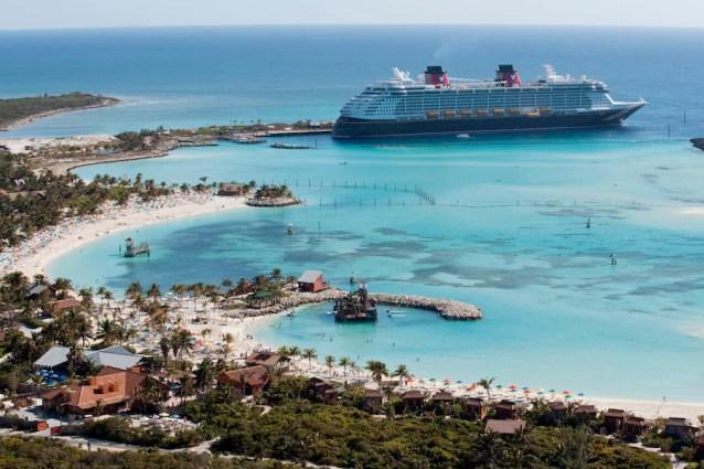 The Disney Dream docks at Castaway Cay