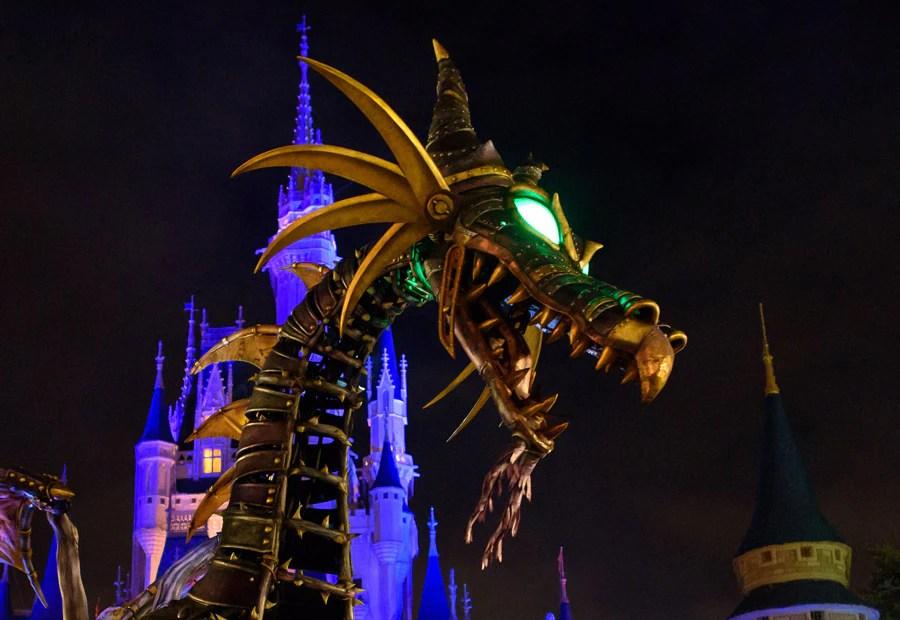 Maleficent Dragon at Magic Kingdom Park at night