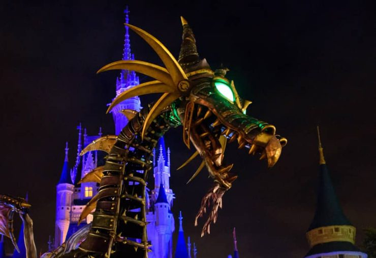 Maleficent Dragon at Magic Kingdom Park at night