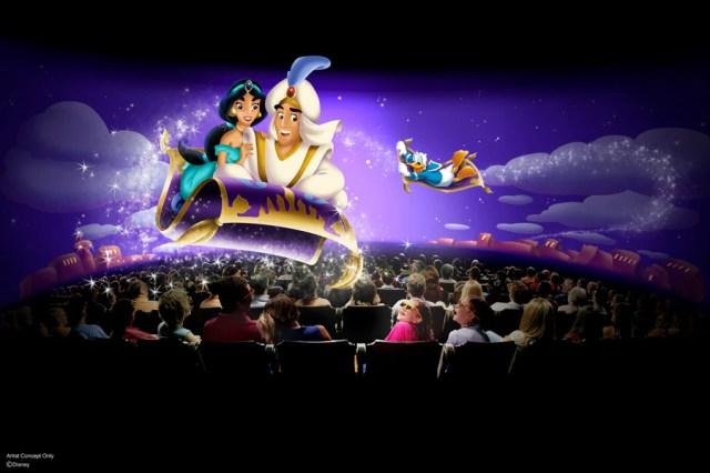 Concept d'artiste «Mickey's PhilharMagic» avec Aladdin, Jasmine et Donald Duck