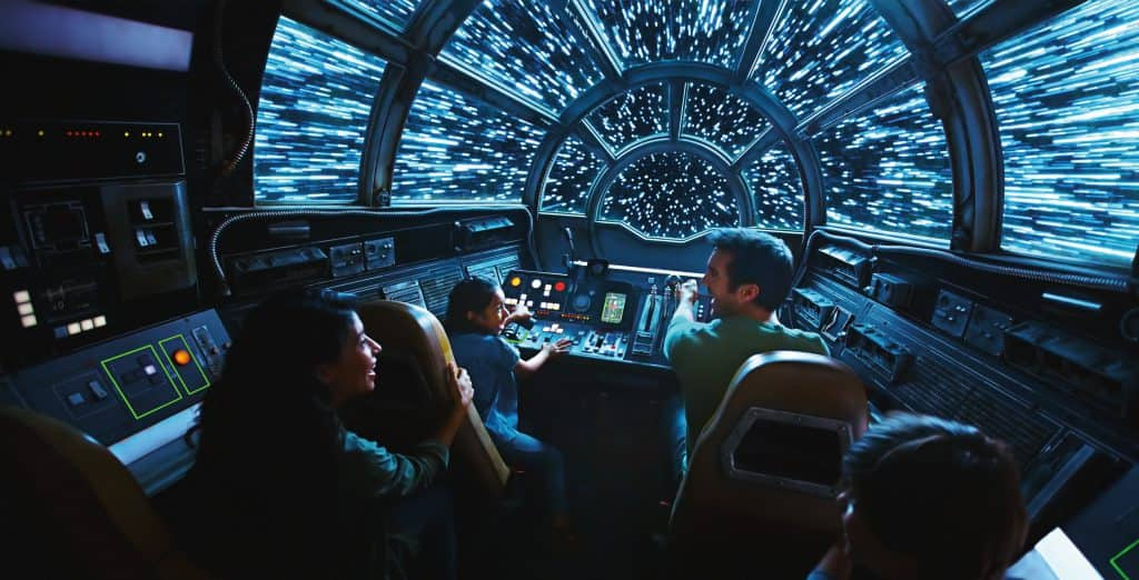 Inside Millennium Falcon: Smugglers Run, Disney guests will take the controls in one of three unique and critical roles aboard the fastest ship in the galaxy when Star Wars: GalaxyÕs Edge opens May 31, 2019, at Disneyland Resort in California and Aug. 29, 2019, at Walt Disney World Resort in Florida. (Disney Parks)