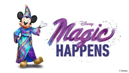 Magic Happens logo with Mickey Mouse in a colorful robe