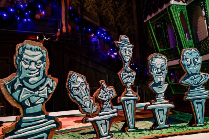 2019 Haunted Mansion Holiday 50th Anniversary Gingerbread House at Disneyland park details