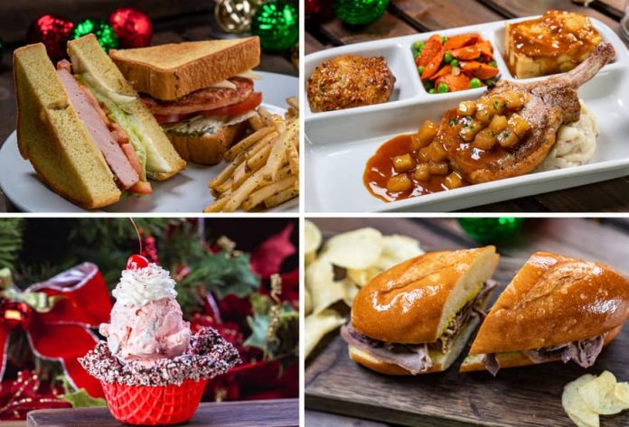 Collage of Main Street U.S.A. Offerings for Holidays 2019 at Disneyland Park