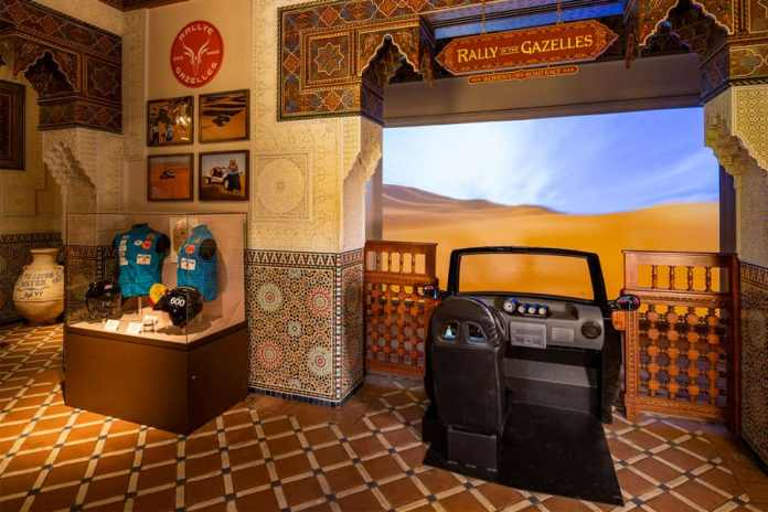 """Rallye Aïcha des Gazelles du Maroc (Rally of the Gazelles), part of the  """"Race Against the Sun: Ancient Technique to Modern Competition"""" exhibit in the Morocco pavilion at Epcot"""