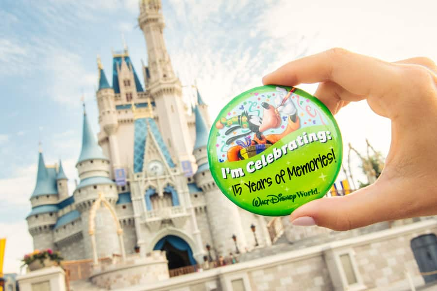 """I'm Celebrating """"15 Years of Memories"""" Pin in front of Cinderella Castle at Magic Kingdom Park"""
