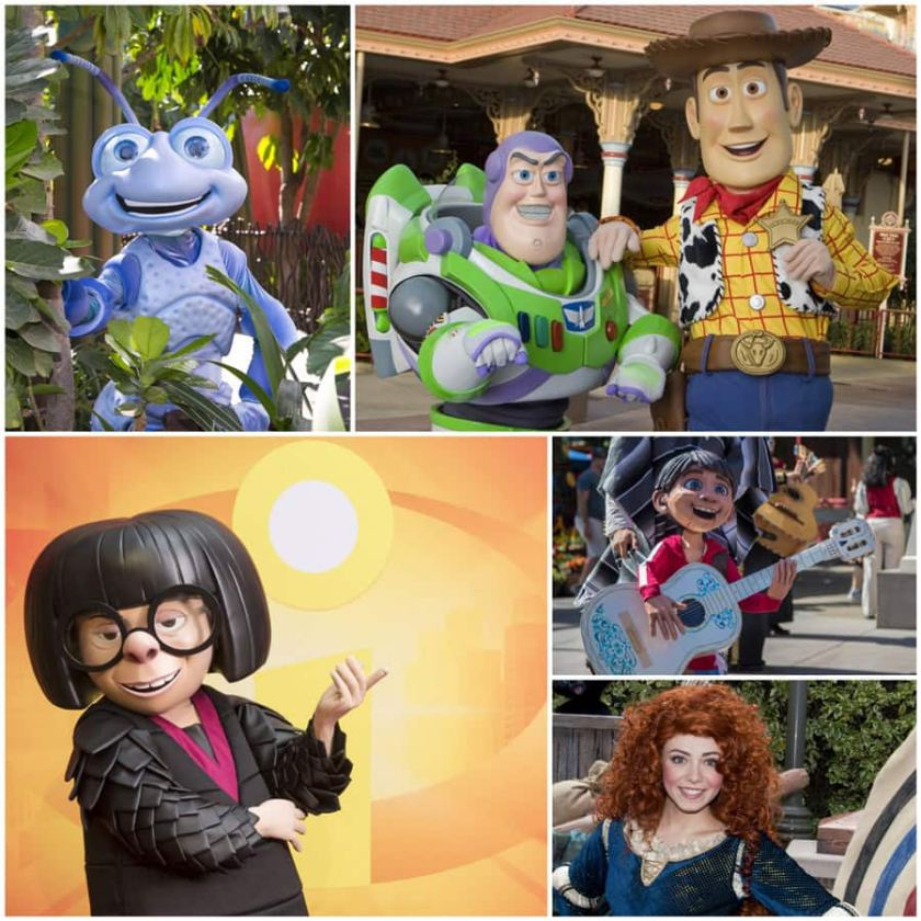 "Flik de ""A Bug's Life"", Buzz y Woody de ""Toy Story"", Edna Mode de ""The Incredibles"", Miguel de ""Coco"" y Merida de ""Brave""."