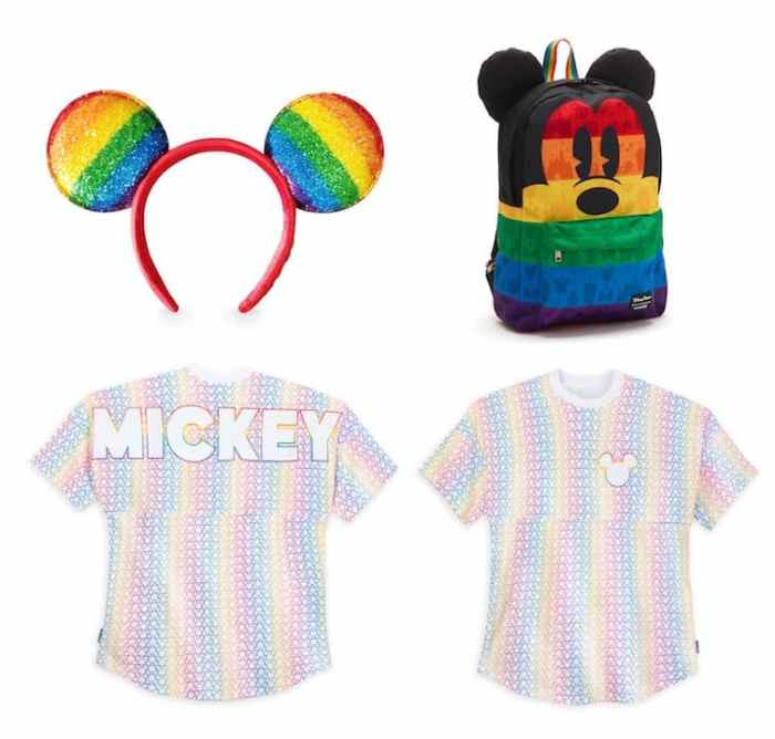 Rainbow Disney Collection items: colorful Mickey Mouse ear headband and matching backpack by Loungefly and front and back of sleeve spirit jersey