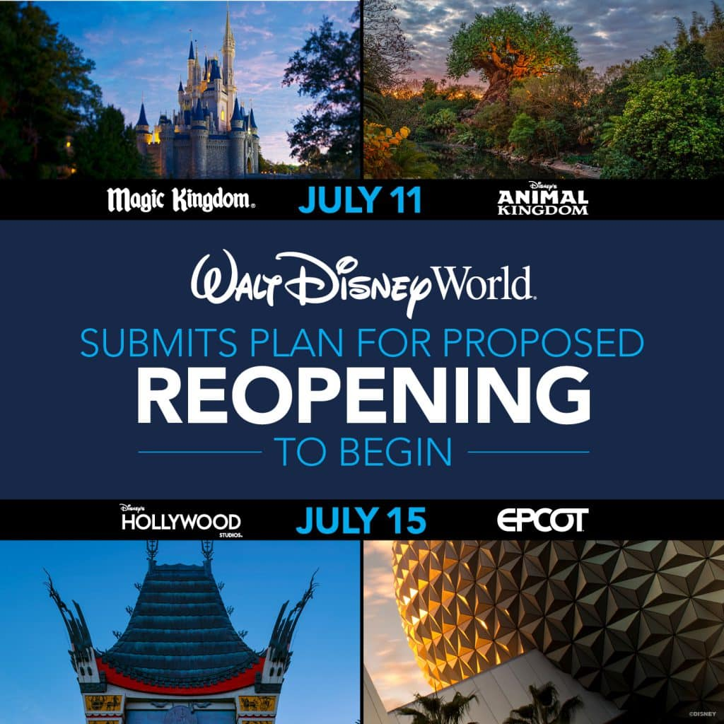 Walt Disney World Submits Plan For Proposed Reopening, Magic Kingdom and Animal Kingdom on July 11, Hollywood Studios and EPCOT on July 15.