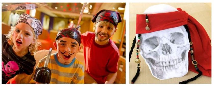 Niños en la noche pirata y un pañuelo pirata