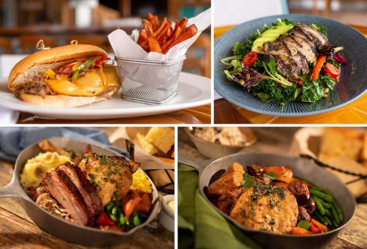 Collage of breakfast items from Walt Disney World Resort Hotels