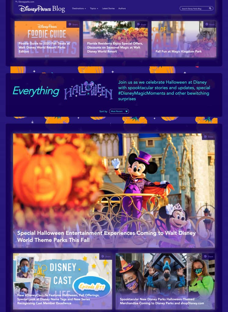 """Special """"Everything Halloween"""" Page on the Disney Parks Blog"""