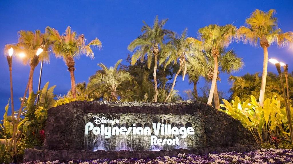 Sign outside of Disney's Polynesian Village Resort