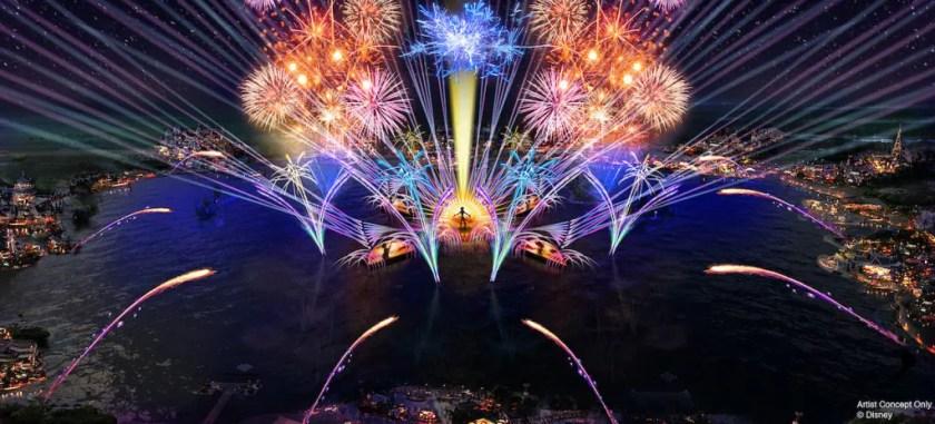"""En 2020, el nuevo """"HarmonioUS"""" debutará en Epcot como el espectáculo nocturno más grande jamás creado para un parque de Disney. Celebrará cómo la música de Disney inspira a personas de todo el mundo, llevándolas armoniosamente en un flujo de melodías familiares de Disney reinterpretadas por un grupo diverso de artistas de todo el mundo. """"HarmonioUS"""" contará con piezas flotantes masivas, paneles LED hechos a medida, fuentes móviles coreografiadas, luces, pirotecnia, láseres y más."""
