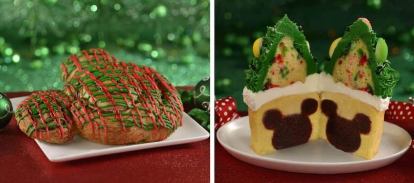 Holiday Mickey Cinnamon Roll and Twice Upon a Cupcake at Magic Kingdom Park