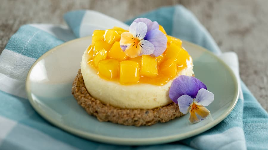 Cheesecake on Oatmeal Raisin Cookie Butter with Passion Fruit-Mango Compote - part of the rotating menu at Farmers Feast.