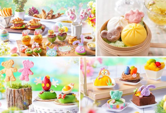Xiao Long Bao Style Dessert Set with Flower Tea, Duffy and Friends All Day Breakfast Style Dessert, Duffy and ShellieMay Character Lollipop Cookie, Easter-themed Treats, Colorful Tea Zone,Easter Egg Chocolate